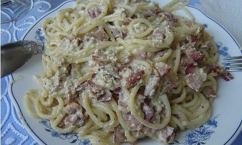 Espaguetis con jam n recet n for Espaguetis para dos