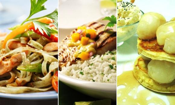 Noodles, pescado con fruta y coco, y lichis: menú del lejano Oriente