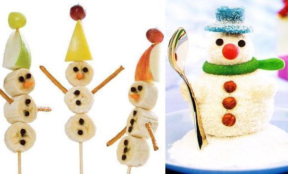 Muñecos de nieve comestibles, divertidos bocados navideños