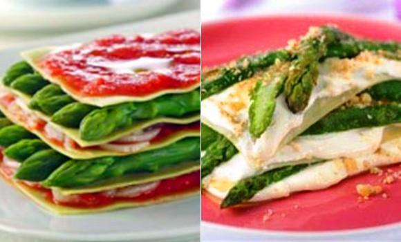 Lasaña de espárragos: una con queso y otra con tomate