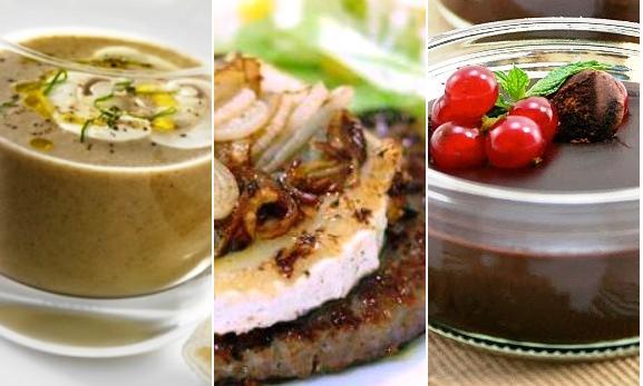 Otro menú marrón: Sopa, hamburguesa y chocolate