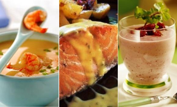 Otro menú rosa: Gambas, salmón y cranberries