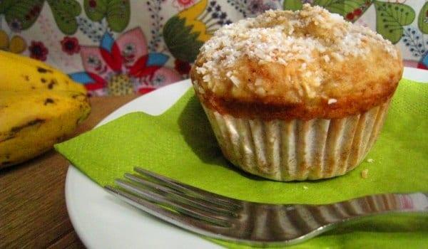 Muffins de plátano, con coco y canela