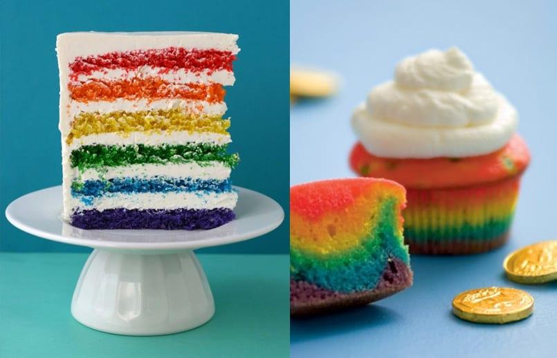 Tarta arcoiris, el pastel pintado