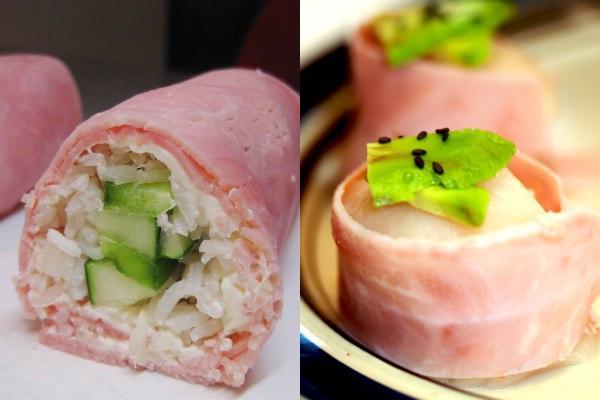 Sushi de jamón de york, ¿con qué relleno?