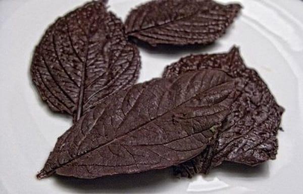 Hojas de chocolate para tus postres de otoño