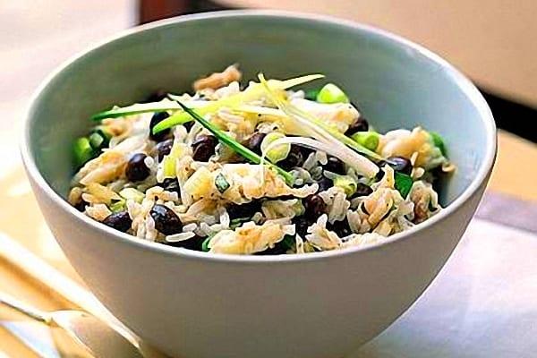 Alubias con arroz y verduras, receta rápida