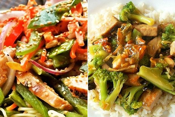 Chop Suey de pollo, cortar y saltear