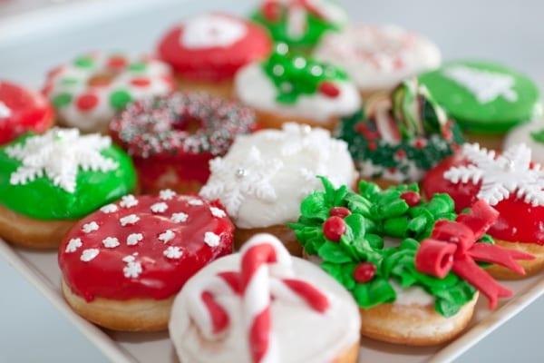 Donuts decorados para Navidad