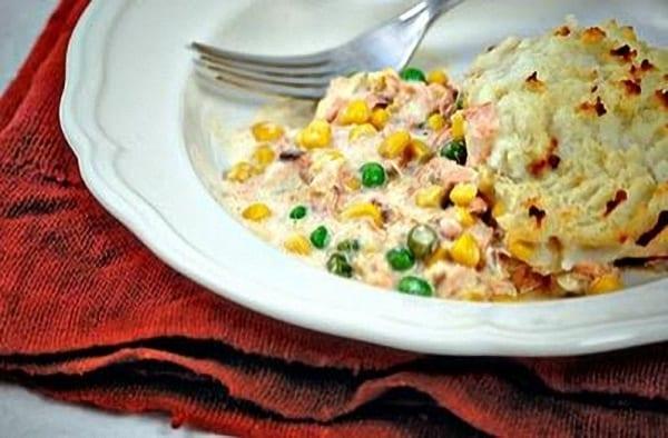 Pastel rápido de salmón ahumado y patatas