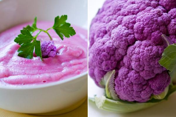 Crema de brócoli morado, San Valentín vegetariano