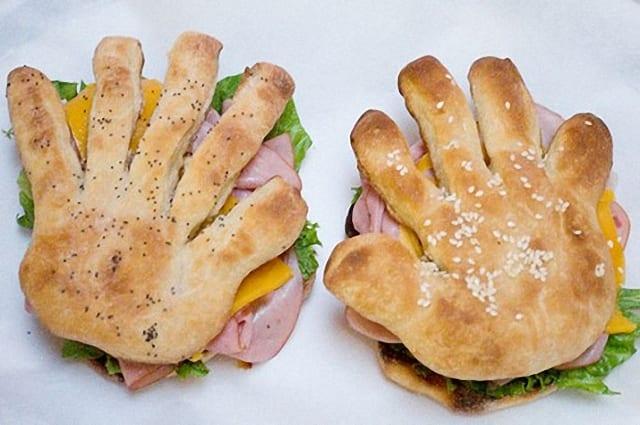 Sandwich mano, cocina con los niños
