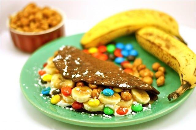 Crepes de chocolate con pl tano y m ms recet n for Como hacer crepes de chocolate