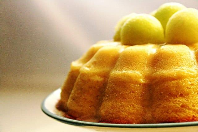 Pastel de melón, bizcocho de frutas que no se ven