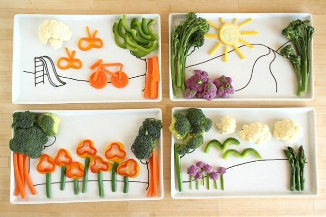 Menestra de verduras emplatada de una forma divertida