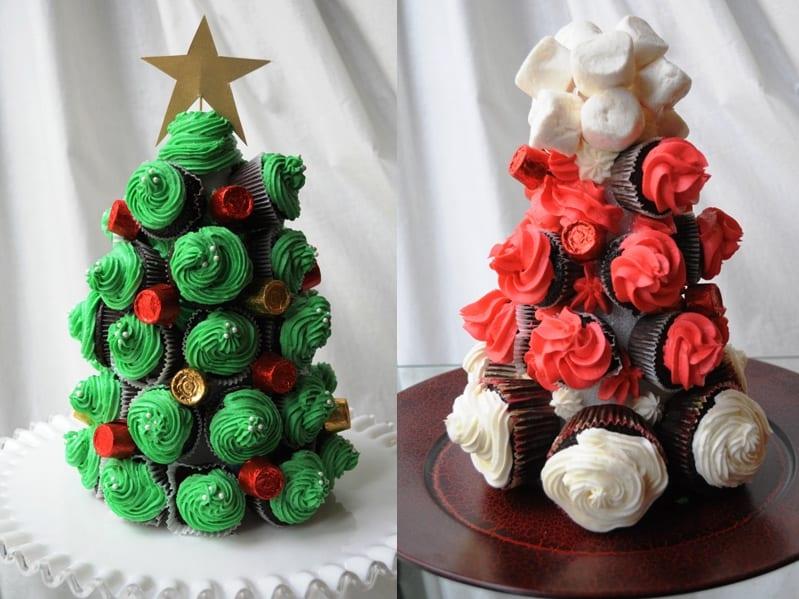 Cupcakes de arbol de navidad