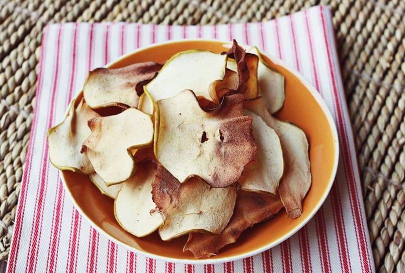 Chips sanos de manzana, meriendas deliciosas y sanas