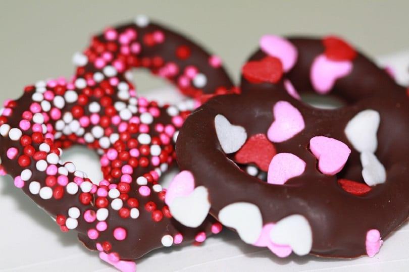 Pretzels de chocolate para San Valentín