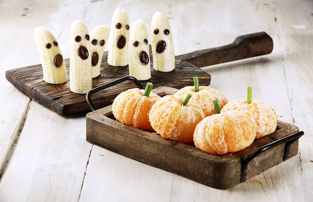 Platanos y mandarinas para Halloween