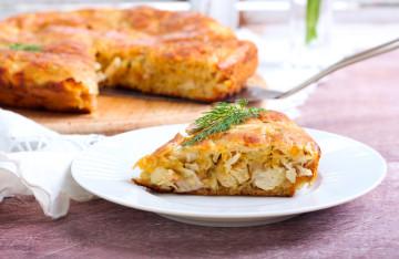 Pastel de pollo, puerro y puré de patata