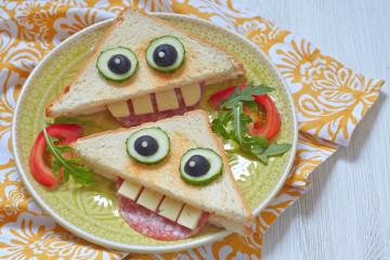 Sandwich sonrisa, meriendas divertidas