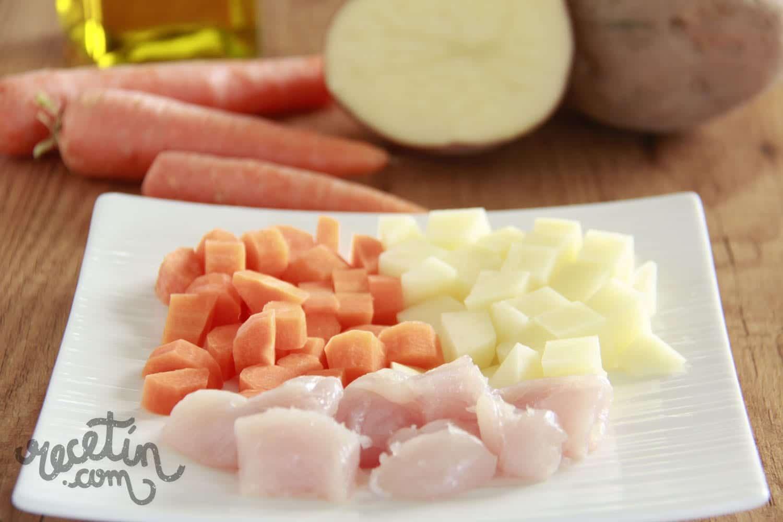 Pur infantil de patata zanahoria y pollo recet n - Tiempo para cocer patatas ...