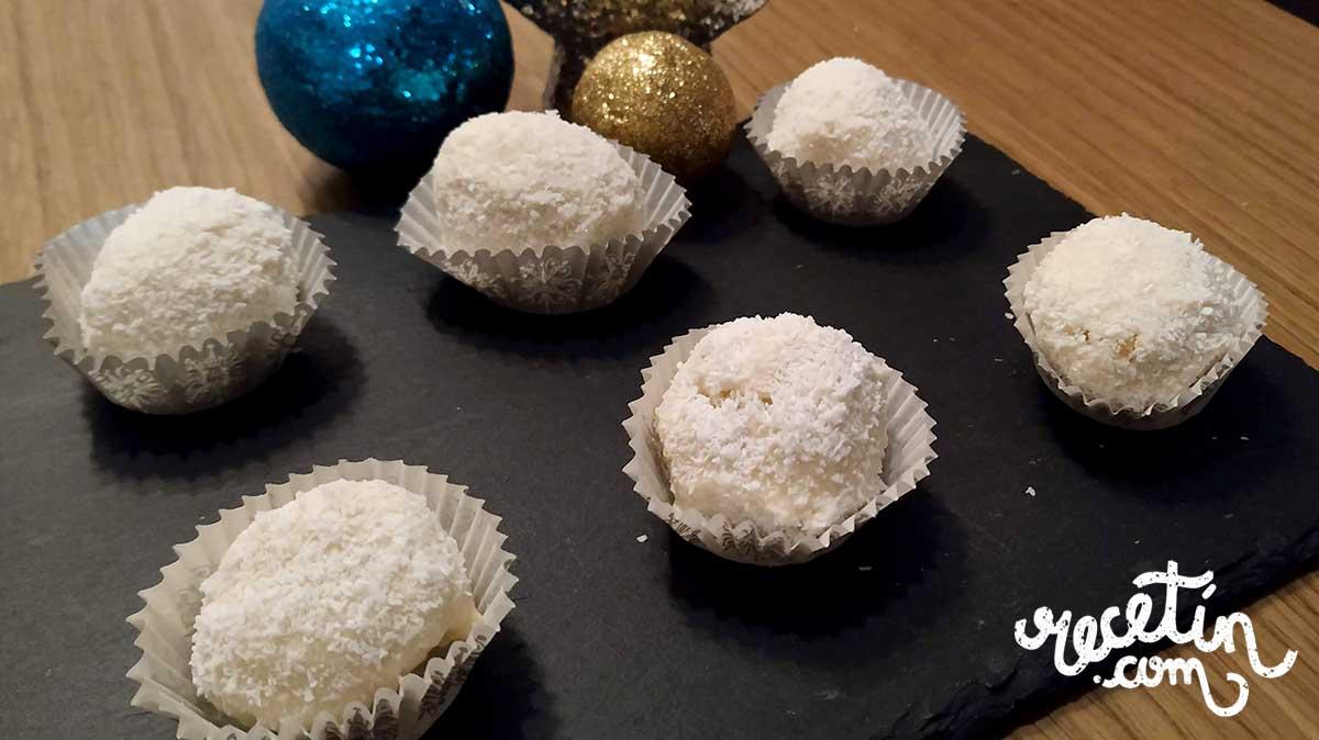 trufas de coco y chocolate blanco